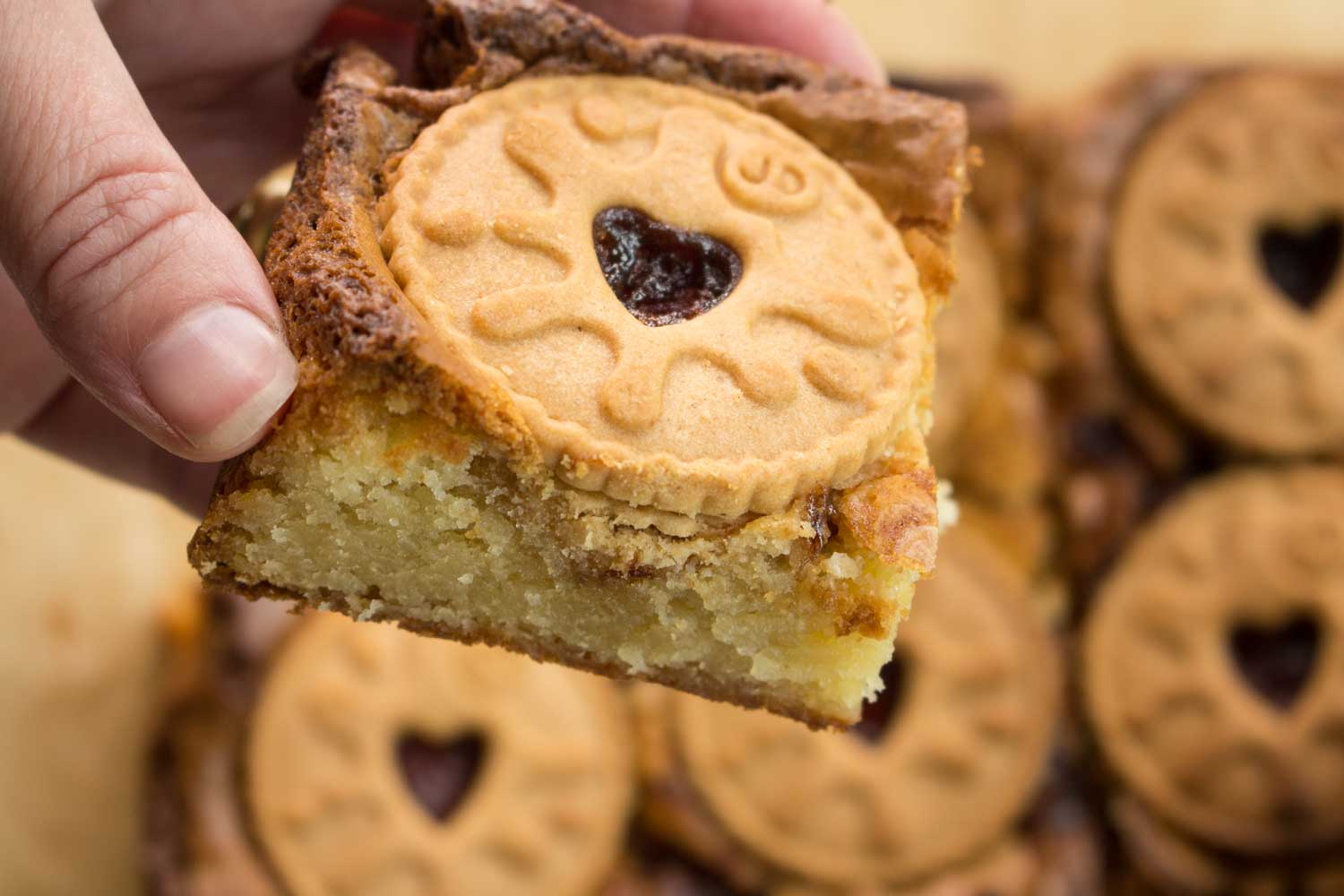 Jammie-Dodger-Blondies-slice--RoseHartSweets